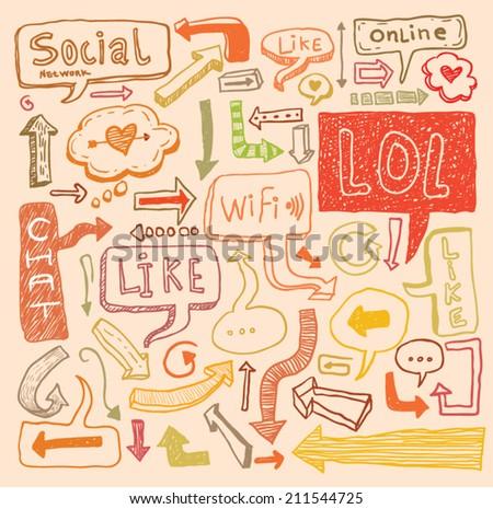 speech bubble doodle set hand