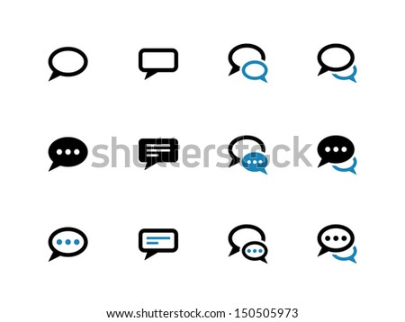 Speech bubble duotone icons on white background. Vector illustration.