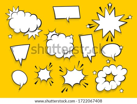 Speech bubble for comic text isolated on yellow background. Empty white outline.  Dialog empty cloud, cartoon box. Speech bubble tag.