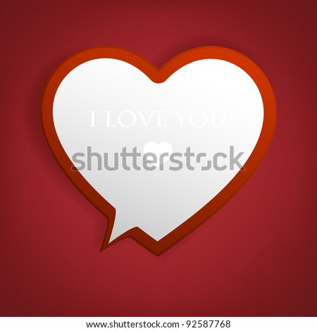 Speech bubble. Heart from paper Valentines day card vector background eps 10