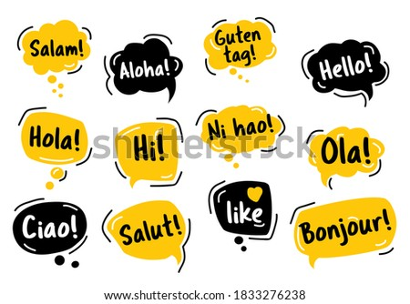 Speech Bubble. Hello, in different languages of the world. Hand drawn doodle talking bubbles. Bright yellow thought bubbles. Vector illustration doodle style.  Photo stock ©
