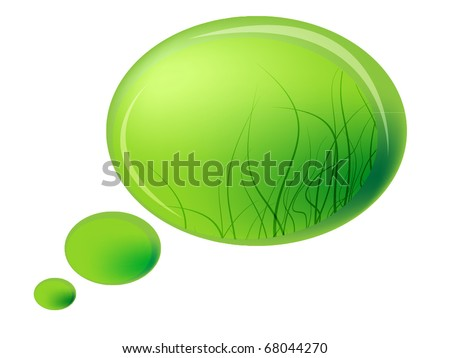 speech bubble icon. stock vector : Speech bubble icon - green color with grass theme