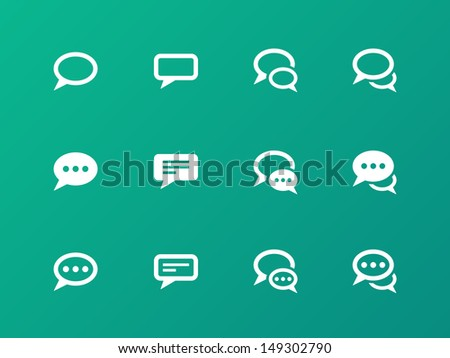 Speech bubble icons on green background. Vector illustration.