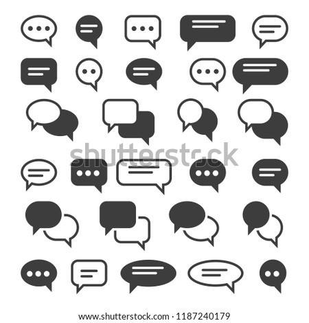 Speech bubble icons. Speak bubbles vector icon set, chat bubbling conversation, chatting text comment signs