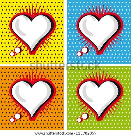 Speech Bubble Love Heart in Pop-Art Style cards set