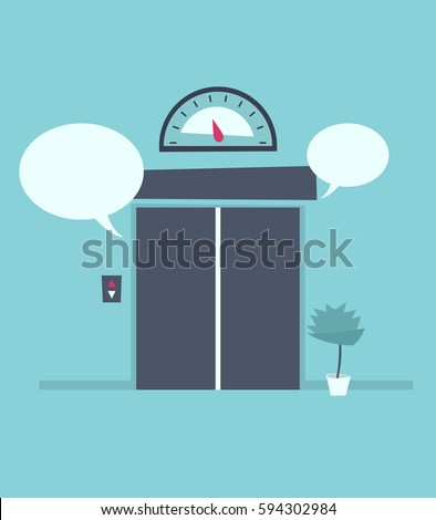 Speech bubble near the closed elevator doors. Elevator pitch concept vector image