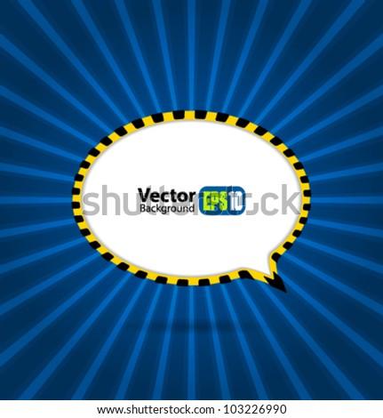 Speech bubble on blue background. Vector.