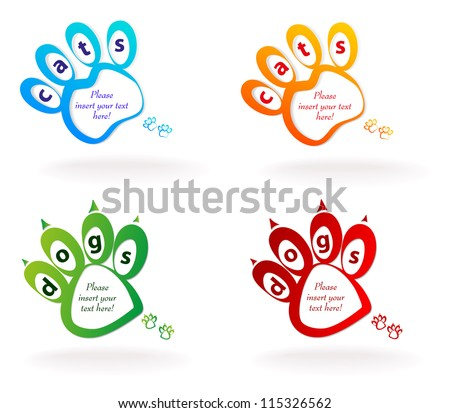 speech bubble pets. footprint cat and dog. Vector