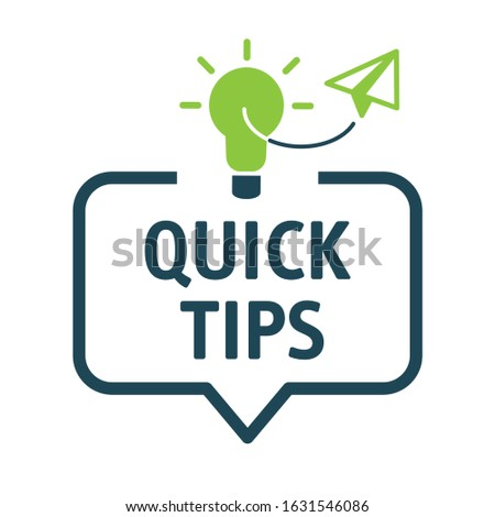 Speech bubble QUICK TIPS. Quick Tips banner vector with light bulb and speech bubble