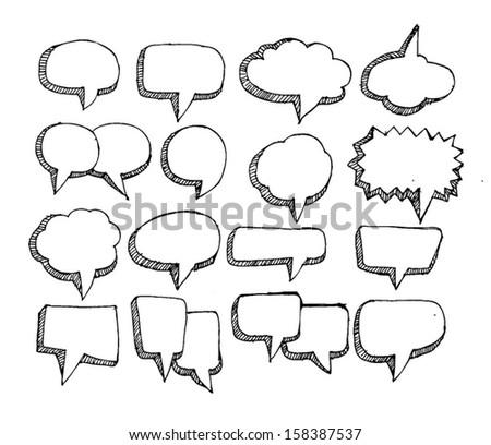 Speech Bubble Sketch Hand Drawn Stock Vector Illustration ...