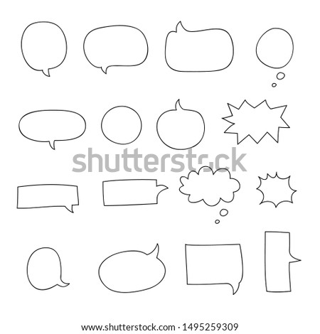 speech bubble. talk bubble. talk bubble and think bubble collection sketch drawing - vector