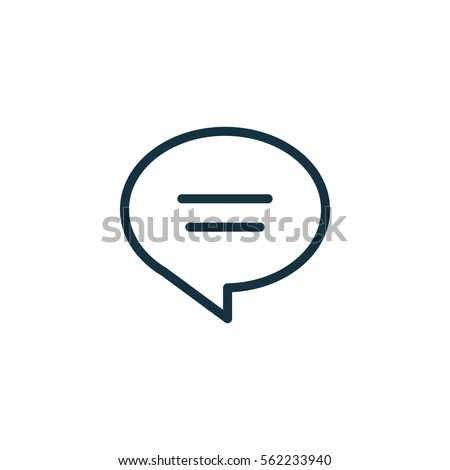 speech bubble thin, line icon on white background; isolated flat