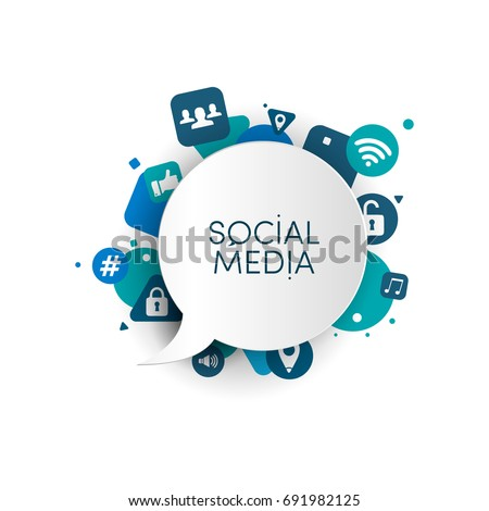 Speech bubble with blue icon app. Social media concept. Vector illustration