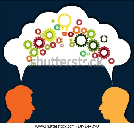 Speech bubble with gears and profiles vector