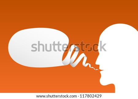 Speech Bubble with head silhouette, vector