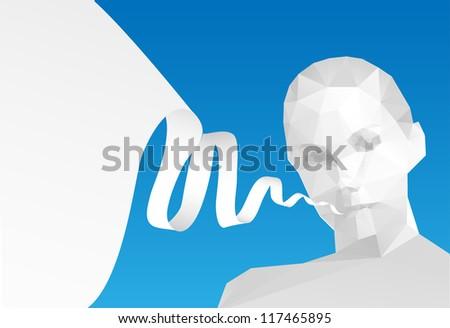 Speech Bubble with head, vector illustration