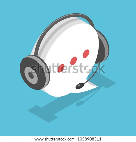 Speech bubble with headset icon, as concept of support service, flat isometric vector.