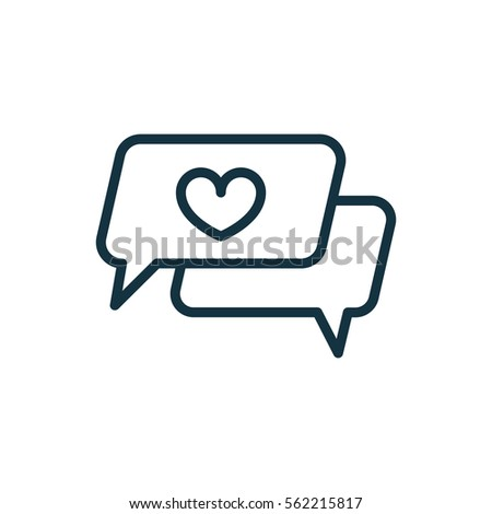 speech bubble with heart thin