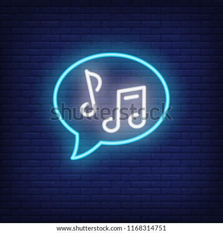 Speech bubble with notes neon sign. Music and sound concept. Advertisement design. Night bright neon sign, colorful billboard, light banner. Vector illustration in neon style.