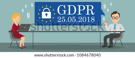 Speech bubble with text General Data Protection Regulation. Eps 10 vector file.