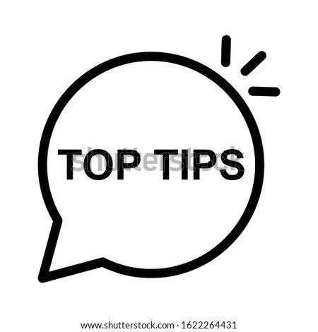 Speech bubble with top tips text icon design. Top tips text icon in trendy flat style design. Vector illustration.