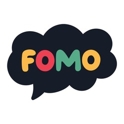 Speech bubble with word - fomo. Hand drawn vector lettering illustration, concept for social media, stickers design.