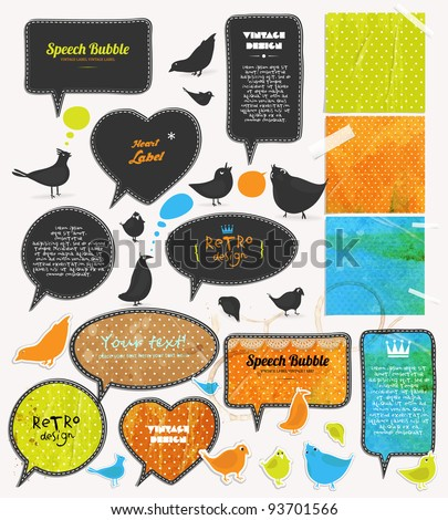 Speech bubbles and birds set, old paper textures.