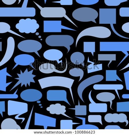 Speech bubbles blue seamless pattern.