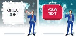 Speech bubbles clipart. Advertisement concept. Announce banner template. Business invitation cards. Colorful cartoon characters. Vector illustration.
