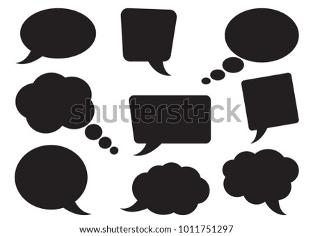 Speech bubbles collection. Blank empty black speech bubbles for your text. Vector illustration ストックフォト ©