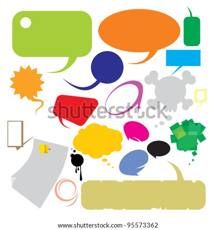 Speech bubbles different shapes and colors