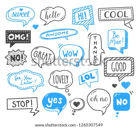 Speech bubbles drawn by hand - doodles. Dialog words, conversation phrases.