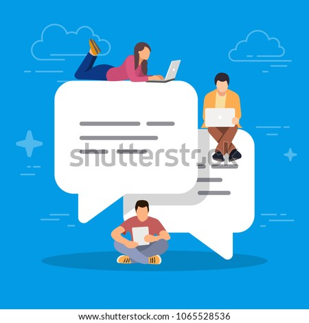 Speech bubbles for comment and reply. Young people using mobile smartphone for texting and leaving comments in social networks. Guys and women sitting. Concept vector illustration on blue background.