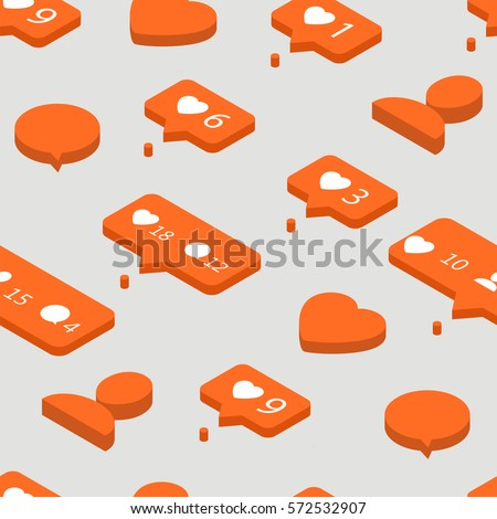 Speech bubbles for social network. Abstract background. Seamless pattern. Vector.  Likes, comments, followers and subscribers in social communication.