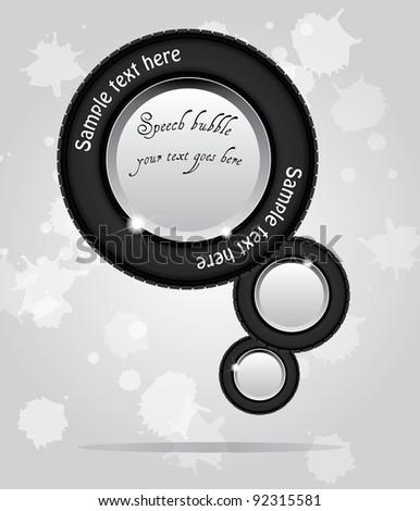 Speech bubbles from car tire shape