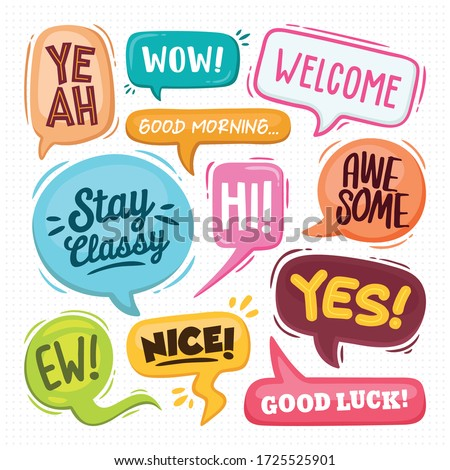 Speech Bubbles Hand Drawn Coloring Vector