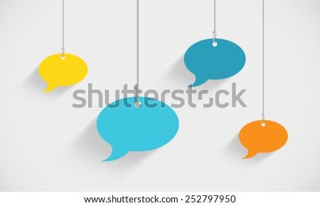 Speech Bubbles Hanging On Strings