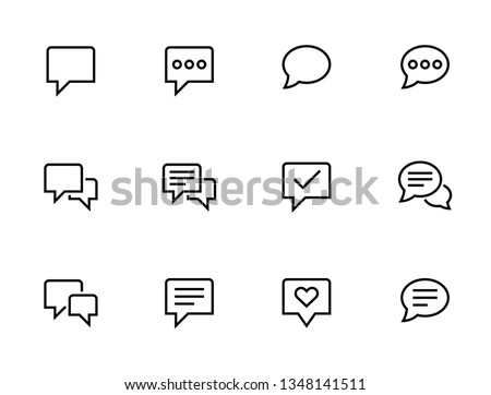 Speech bubbles icons. Set of Communication outline vector icons. Foto stock ©