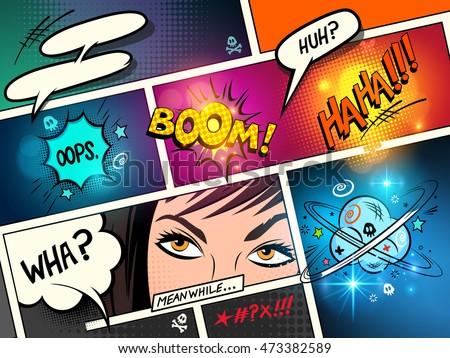 speech bubbles on a comic strip