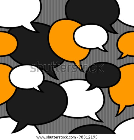 speech bubbles orange, black, white seamless pattern
