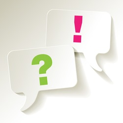 speech bubbles question mark green exclamation pink