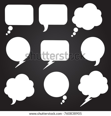 Speech bubbles set. Blue Vector icons isolated. Thought , speech bubble. Dream cloud. Talk balloon. Quote box. Text, information frame. Banner and badge. Set of vector illustration icons.
