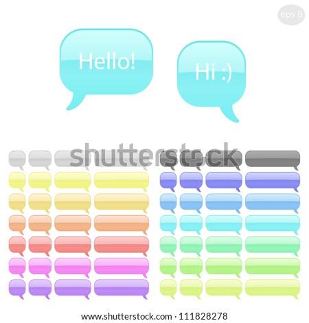 Speech bubbles set, different colors and shapes.Vector