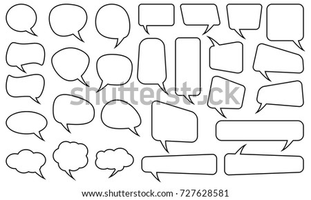 Speech bubbles set. Different shapes. Isolated background. Full editable vector file. EPS.