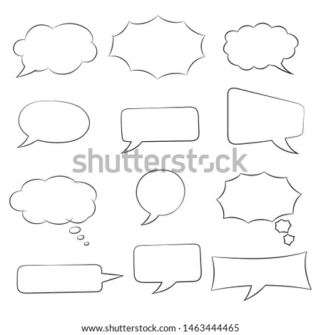 Speech bubbles set. Doodle style hand drawn sketch. Vector illustration isolated on white background