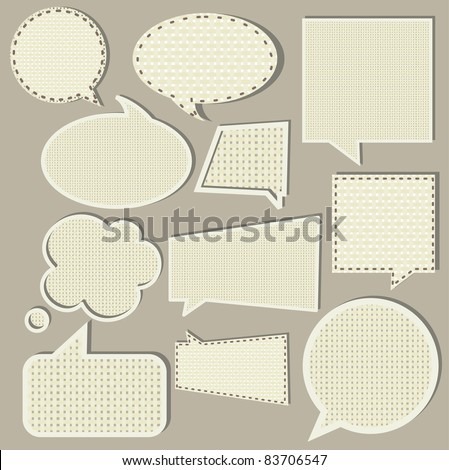 speech bubbles set, fabric texture