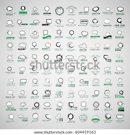 Speech Bubbles Set Isolated On Gray Background,Vector Illustration,Graphic Design.Collection Of Comic Elements With Halftone Shadows.For Infographics,Social Media,Network And Blog