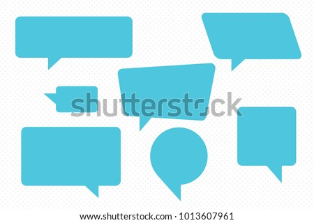 Speech Bubbles Set of Inverted Rectangle Distorted Circle and Square Blank Trendy Shapes - Blue Elements on White Dots Wallpaper Background - Vector Flat Graphic Design