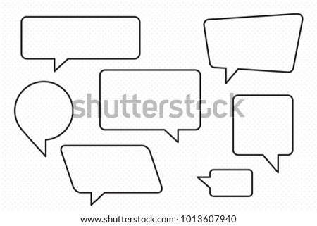 speech bubbles set of outlined