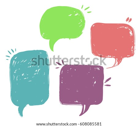 Speech bubbles. Set of speech bubbles and elements with halftone shadows. Vector illustration. Isolated on transparent background